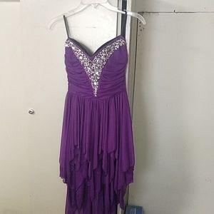 Strapless Purple Formal Dress